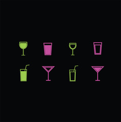 set of  icons of wine glasses and glasses for drinks. vector