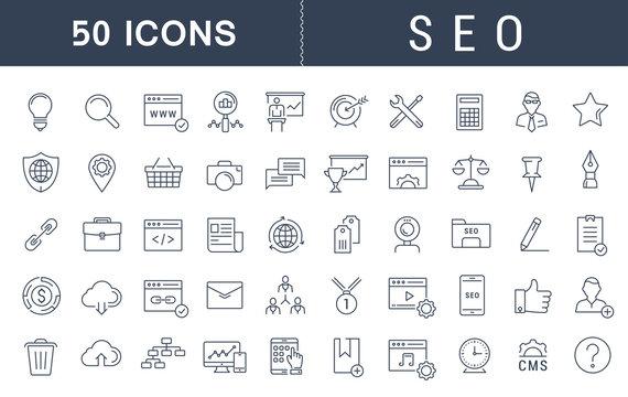 Set Vector Flat Line Icons SEO