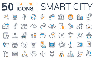 Set Vector Flat Line Icons Smart City Fotoväggar