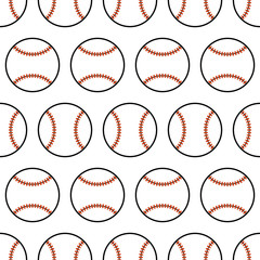 Baseball. Seamless pattern with sport balls. Vector
