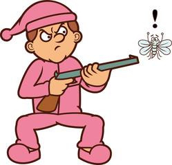 Man Threatening Mosquito with Gun Cartoon Illustration
