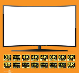 Curved TV screen, vector