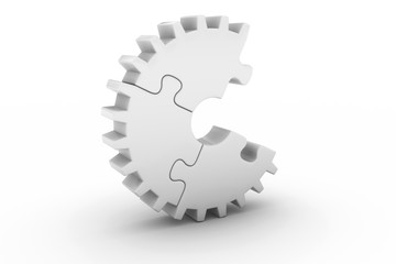 White Jigsaw Puzzle Cog Wheel with Missing Piece - 3D Illustration