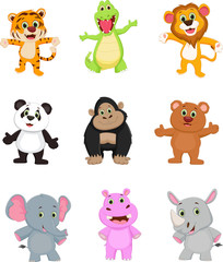 collection of wild animal cartoon