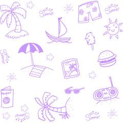Hand Draw beach doodle