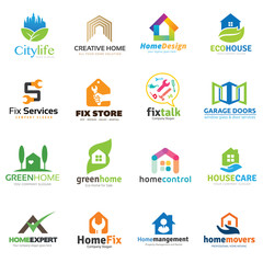 Home and real estate logo collection, House logo, DIY home,home repair,home store,eco,house care and home management,home for rent,home for sale, tool logo,property logo, vector logo collection.