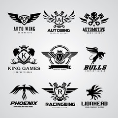Logo collection,logo set,automotive logo,skull logo,rock logo,wing logo,warrior logo,sound logo,bike logo,Motorcycle logo,motorbike logo,t-shirt,tattoo,fox,lion logo,eagle,animal logo,crest,crests