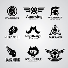 Dark warrior and skull logo design for Rock,Motorcycle, motorbike, T-shirt, tattoo, Gamer icons