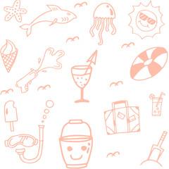 Icon Set summer beach doodle