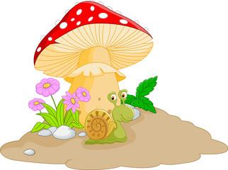 snail cartoon under mushroom