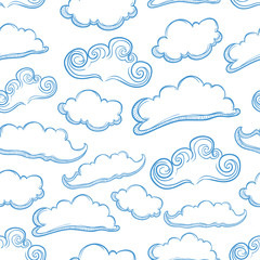 Seamless Pattern Of Set Unique Cloud With Outline