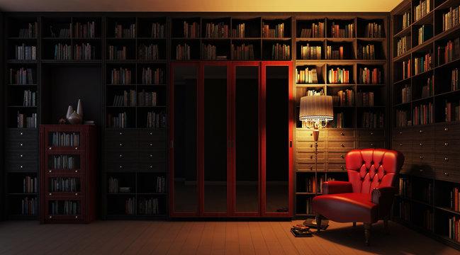 Частная библиотека ночной вид 3d