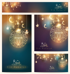 Beautiful arabic pattern floral ornament star and crescent mosque for greeting business card - Eid mubarak