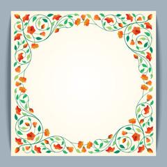 Beautiful Round Frame Vector Flower Banner Background