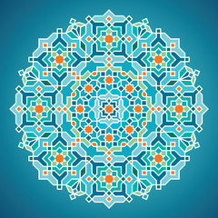 Beautiful Round vector geometric arabic pattern ornament for greeting business card template