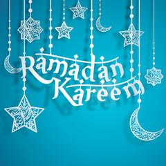 Ramadan Kareem Papercut Style with Islamic Crescent Star Floral Pattern