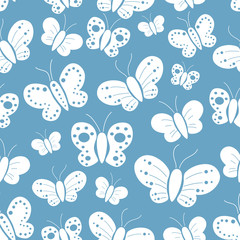 Seamless Pattern Of White Butterfly Silhouette With Blue Background