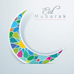 Eid Mubarak Colorful Crescent Arabic Pattern