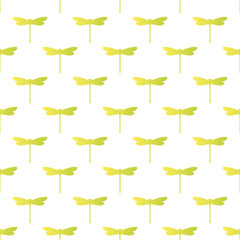 Cute Seamless Pattern. Repetitive Texture with Isolated Dragonflies Silhouettes on White Background.  Vector Fashion Background