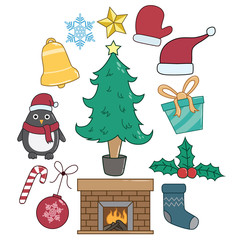 Set Of Christmas Elements Or Icons With Color And Doodle Style