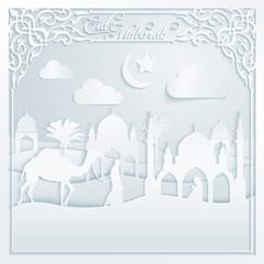 Eid Mubarak silhouette camel mosque muslim prayer on desert