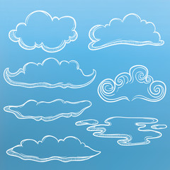 Set Of Outline Unique Cloud With Sketchy Style And Blue Background