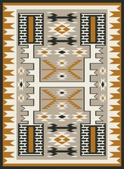 Ethnic pattern design. Navajo geometric print. Rustic decorative ornament. Cloth design, wallpaper, wrapping. Vector illustration. Abstract geometric pattern. Native American pattern.