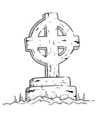 Tombstone On Graveyard With Sketchy Style