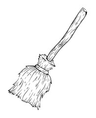 Witch Broom Stick In Sketchy Style