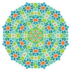 Round geometric arabic ornament mosaic color