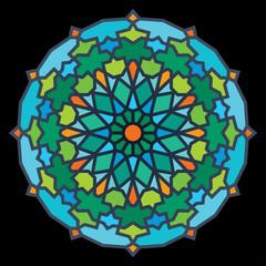 Arabic geometric pattern colorful mosaic