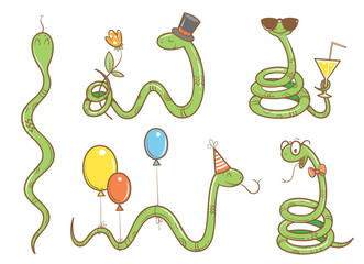 Cartoon cute snakes set. Five funny animals in different poses. Collection of reptiles. Children's illustration. Vector image. Birthday set.