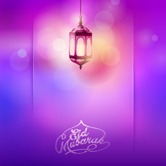 Eid Mubarak greeting background soft light color arabic lantern