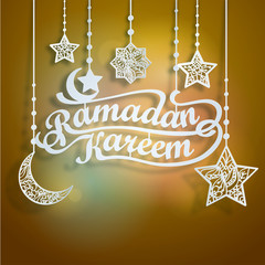 Ramadan Kareem Papercut Style with Islamic Crescent Star Floral Pattern for greeting card