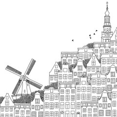 Hand drawn black and white illustration of a Dutch city with windmill