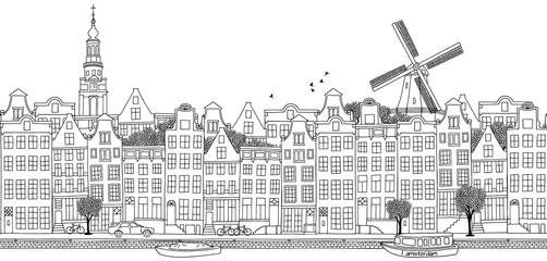 Seamless banner of Amsterdam's skyline, hand drawn black and white illustration