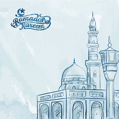 Watercolor mosque sketch Ramadan Kareem greeting background