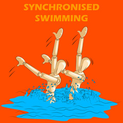 Concept of Synchronised Swimming sports with wooden human mannequin