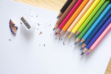 Color pencil and sharpener on white paper