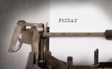Friday typography on a vintage typewriter