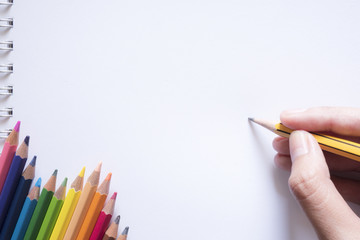 Hand drawing on paper with color pencils