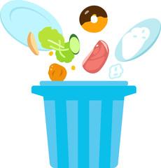 ゴミ箱に捨てられる食べ物のイラスト