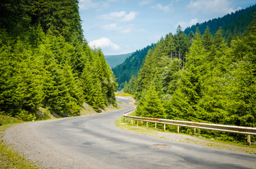 on the road in the green mountains