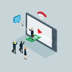 video internet marketing isometric concept