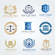 Law office logo collection.lawyer icon. The judge, Law firm logo template, lawyer set of vintage labels. full vector logo and easy to edit able.