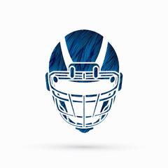 American football Helmet designed using blue grunge brush graphic vector.