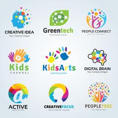 Logo set,logo collection,idea logo,kids logo collection,family logo,people logo,creative logo design template,eco logo set,brain logo,vector logo template