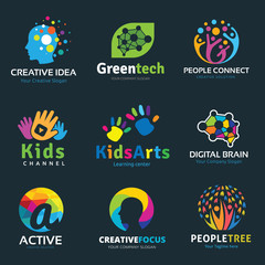 Learning and Education idea logo set for kids and family school and business brand identity