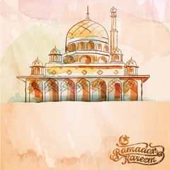 Vector watercolor brush mosque islamic design background Ramadan Kareem