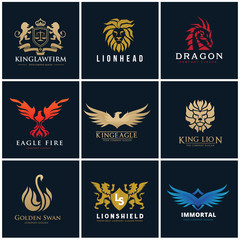 Animal logo collection,Eagle Logo set,bird logo,Phoenix logo,Vector Logo template